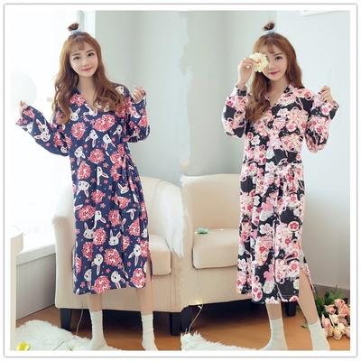 秋日式和风樱花玉兔少女甜美公主和服睡袍浴袍睡裙睡衣汗蒸服包邮