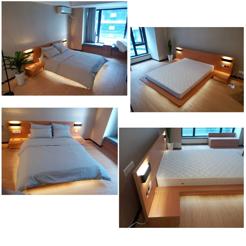 Japanese tatami bed all solid oak bed modern minimalist 1.51.8 meters double soft back log short bed
