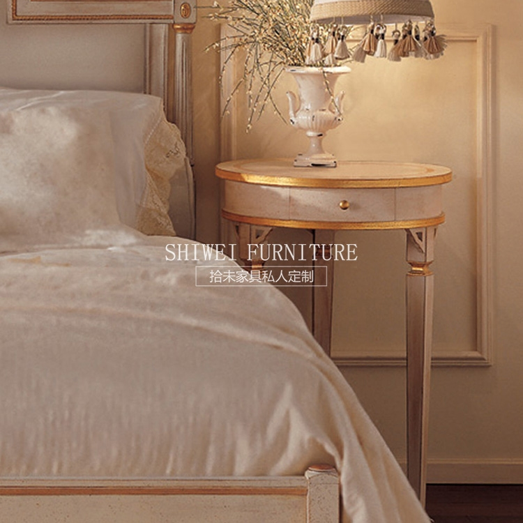 French vintage old hand carved wooden bed double gold by 1.8 European American soft spot marriage bed