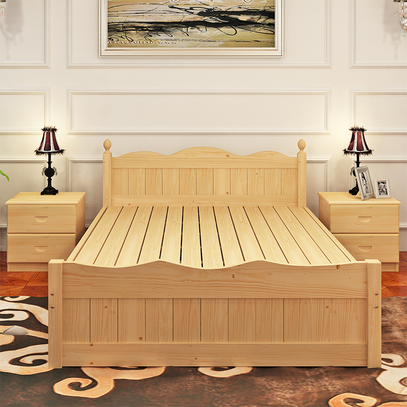 Log modern simple double bed, 1.8 single pine bed, 1.5 child bed, economical solid wood bed, 1.2 small beds