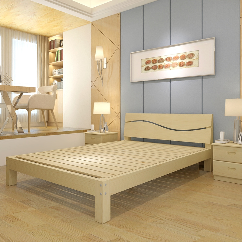 A simple wooden frame 1.5 1.8 wood bed double bed economic hard bed for children and adults single household pine bed