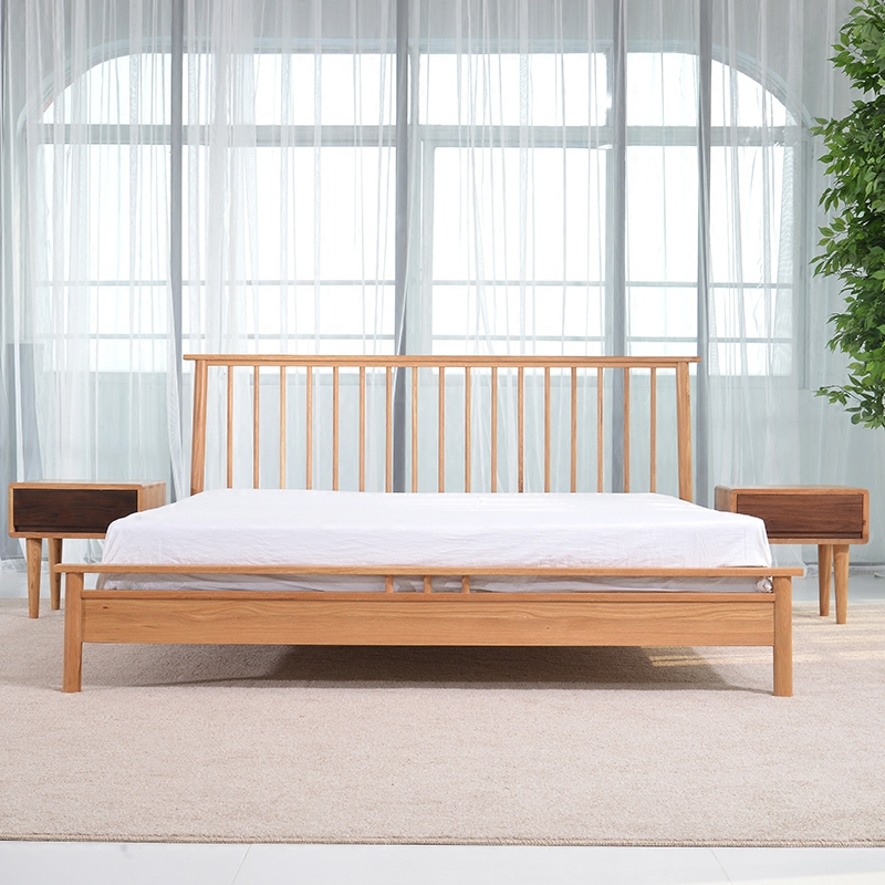 Nordic simple solid wood double bed, home environmental protection white oak, master bedroom wedding bed, 1.8/1.5 meters bedroom furniture