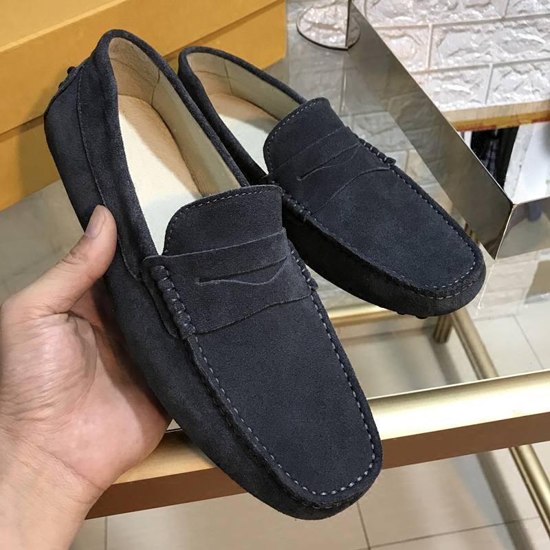 2017 new style summer air permeable skin peas shoes, men's leather sailing shoes, flat top flat fur leisure shoes