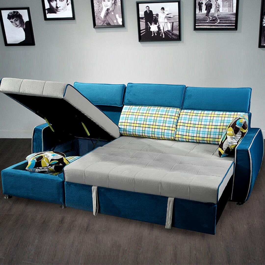 πτυσσόμενο καναπέ κρεβάτι καναπέ - κρεβάτι ύφασμα αποθήκευσης jy604 μπλε καναπέ - κρεβάτι.