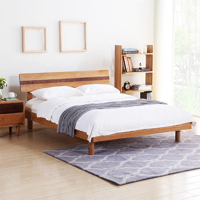Home Furnishing dingzun Japanese pure white oak wood double bed adult bedroom furniture Nordic 1.51.8 meters