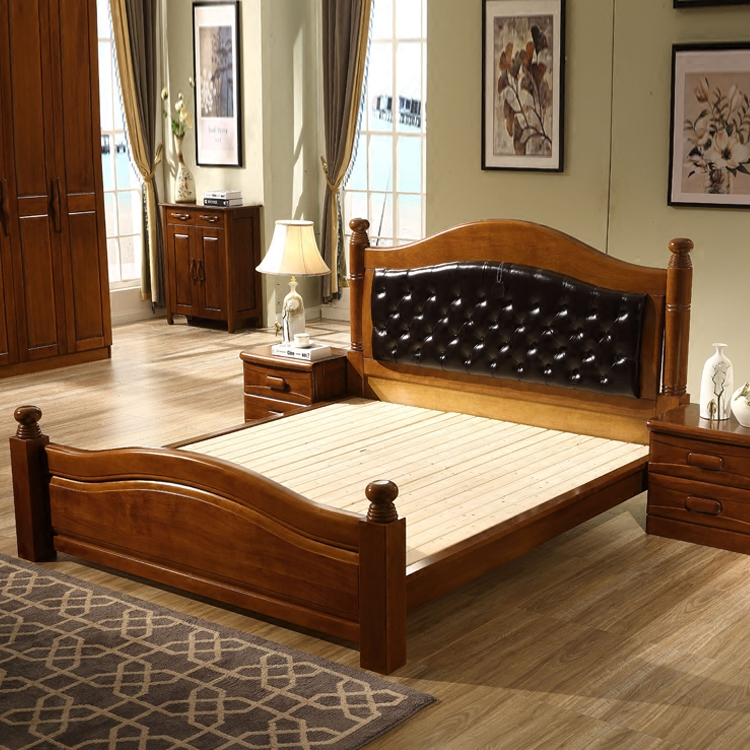 The wooden beech wood double 1.8 meters 1.5 meters of modern Chinese style wedding bed bed with soft leather on Walnut cream