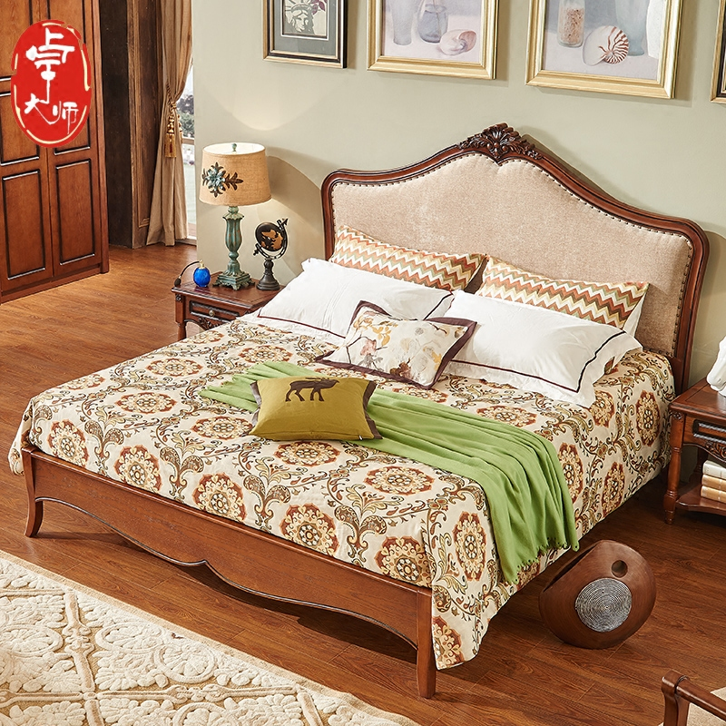 American bed, solid wood double bed, 1.8 meters country retro bed, soft cloth bed 1.5 meters, primary and secondary bedroom solid wood bed