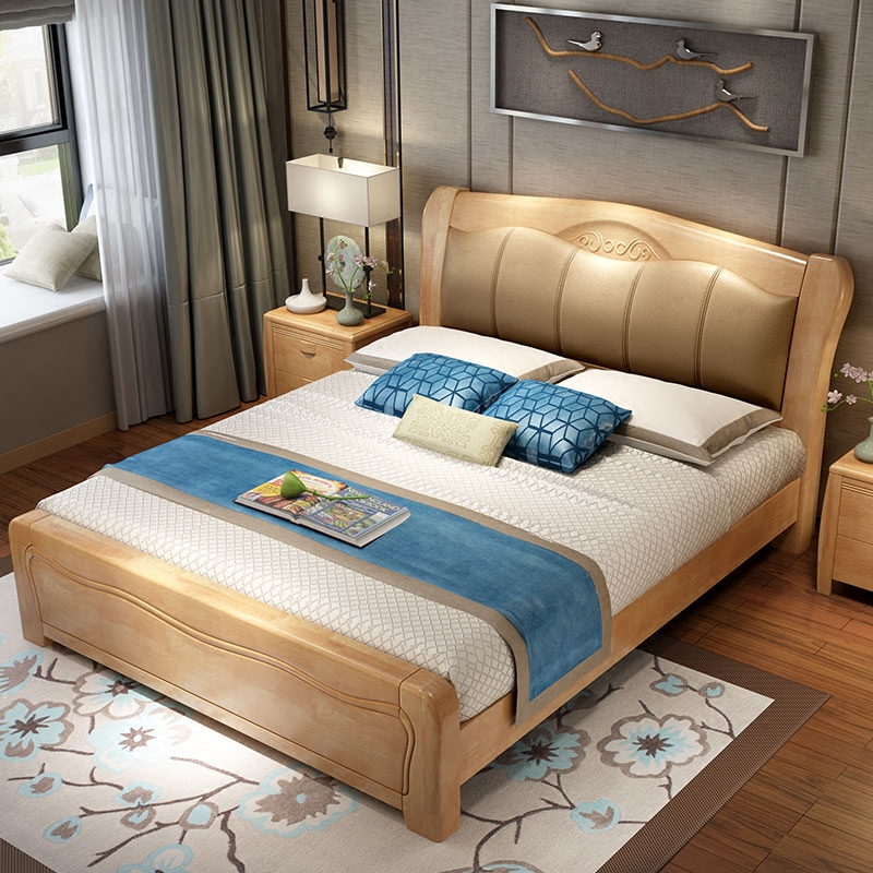 New Chinese bedroom master bedroom, high box storage bed, solid wood bed, high box bed, 1.5 double bed, 1.8m oak furniture