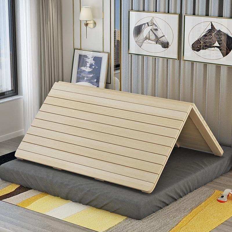 木造堅い板マットレス折りたたみ1 . 5メートルの1 . 8メートル単ペア松木列骨格枚の板畳ベッドの枠にカスタマイズ