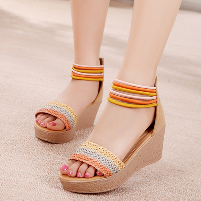 2015 new summer Rome leather sandals female wedges with the mouth of the fish cake thick bottom waterproof sandals