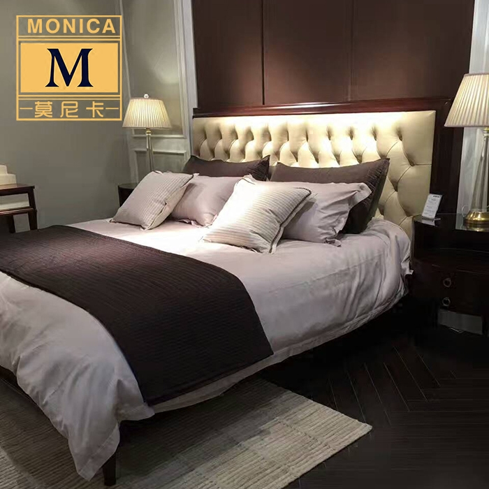 Modern Chinese double high star hotel hostel wood bed wedding bed 1.8 meters Zen fabric bed custom