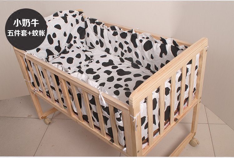 Solid wood crib, multifunctional children's paint free baby bed, BB new chair, environmental protection cradle, cartoon folding bed