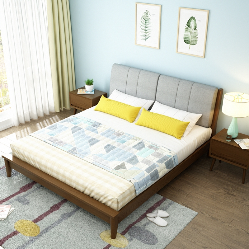 Nordic all solid wood bed 1.5m1.8 meters double bed, Japanese modern minimalist master bedroom, ash wood soft marriage bed