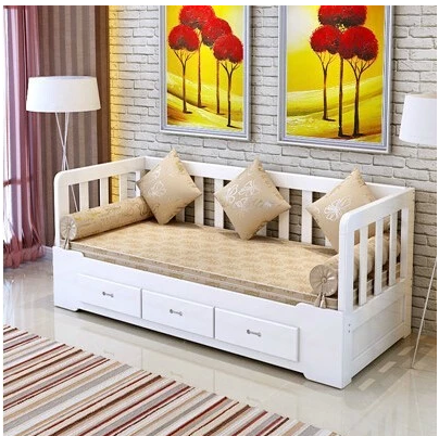 Custom shipping pure solid wood sofa bed reclining push broaching machine storage folding sofa bed double bed