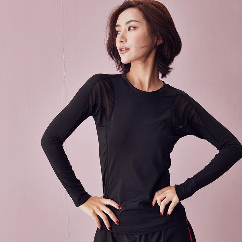 背中网纱運動シャツ女長袖ゆったり着やせヨガウェアフィットネス水着ランニング速乾上着通気秋