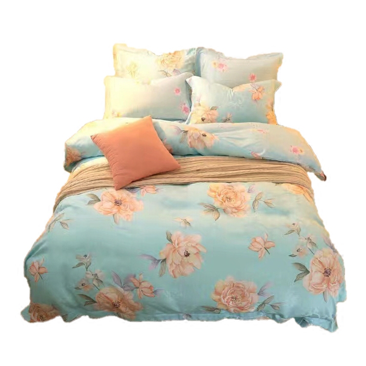 80 double-sided pure Tencel jacquard bedding 1.5/1.8 double spring four piece summer silk quilt