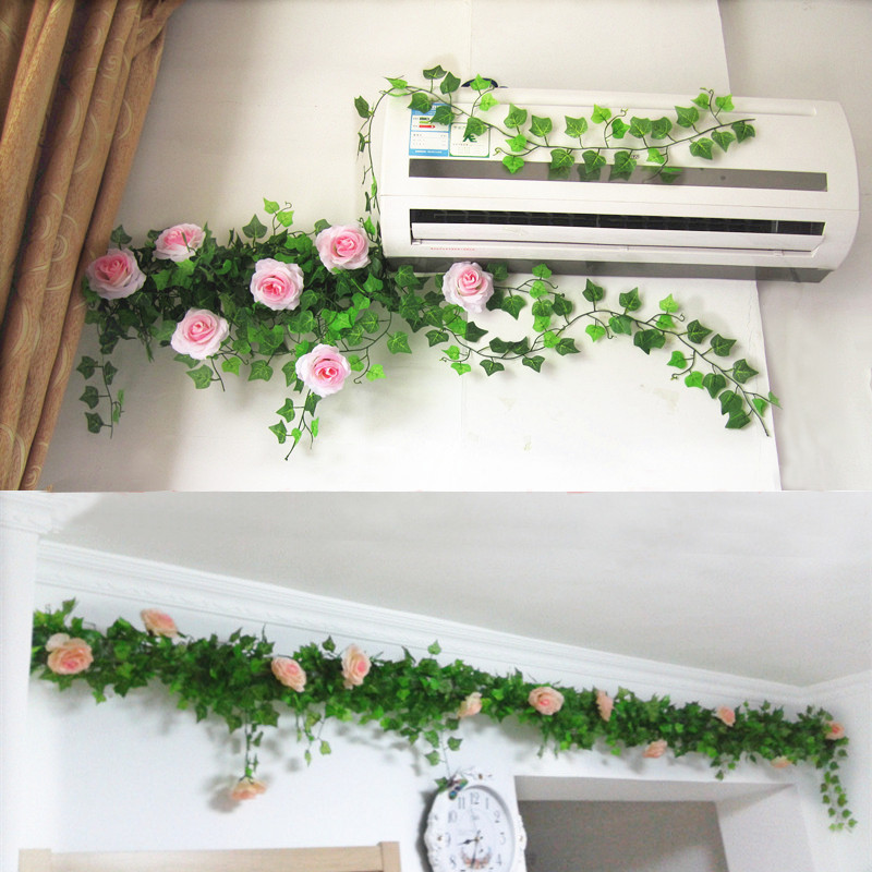 Air Conditioning Tube Heating Pipe Water Fake Flower Decoration Rattan Living Room Simulation Rose