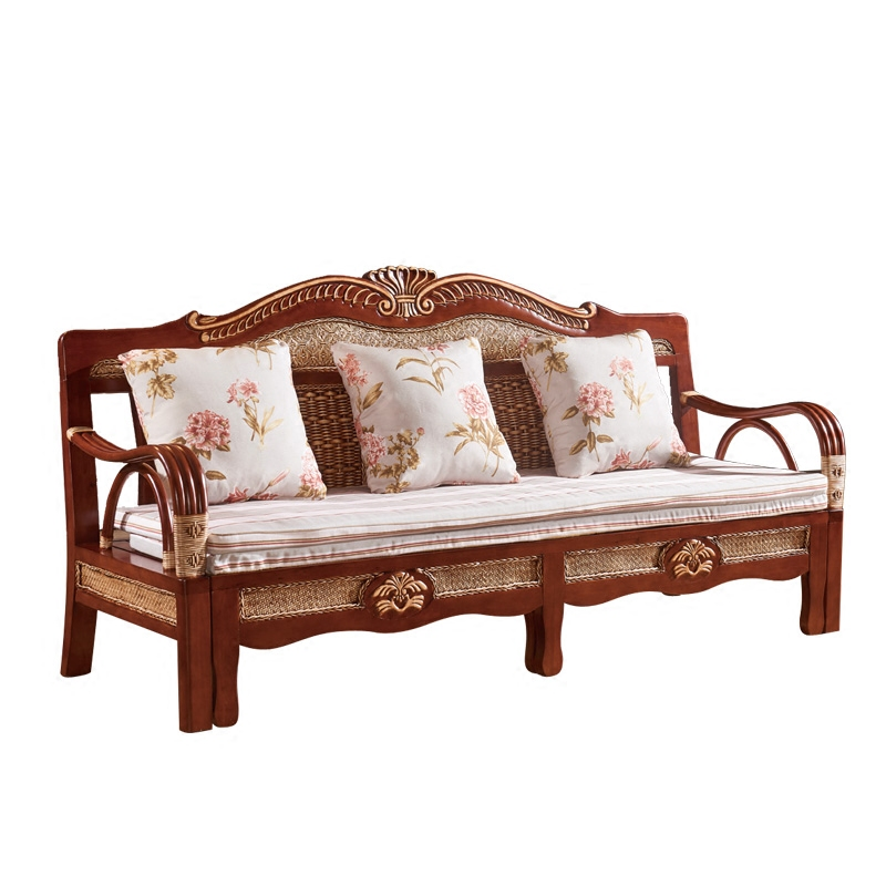 丰代真籐ソファベッドグループ折りたたみリビング双三人籐椅子ソファ小型木造式