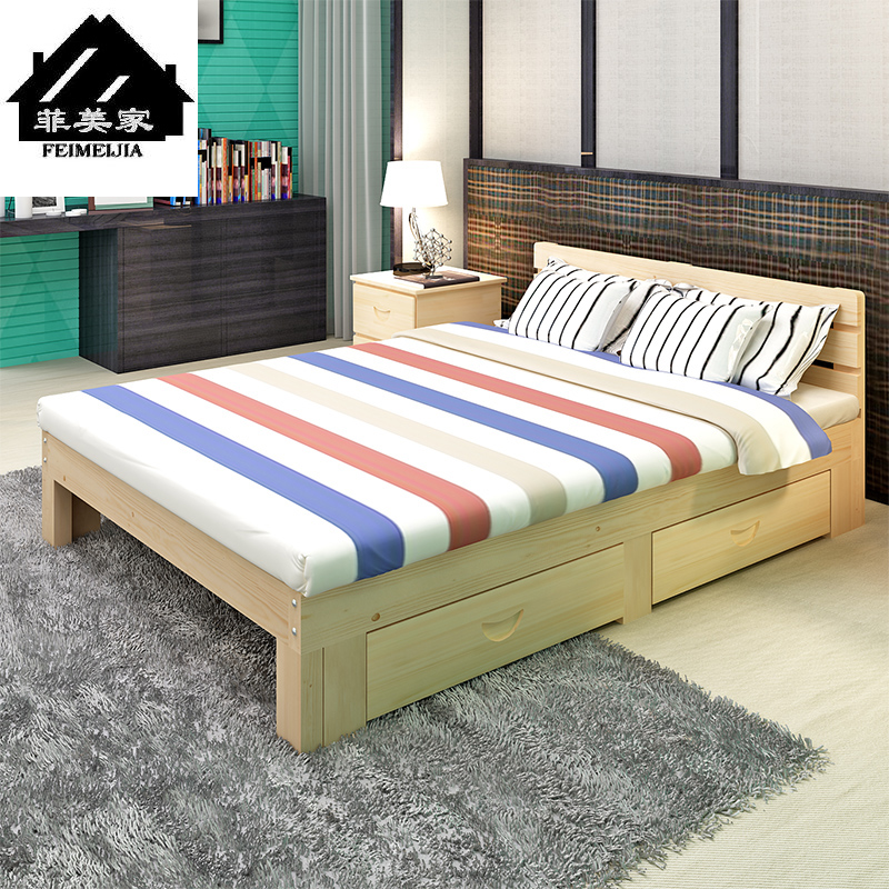 Bed bed, children's girl dormitory, bed, student double bed, all solid wood rental house, adult solid wood bed combination
