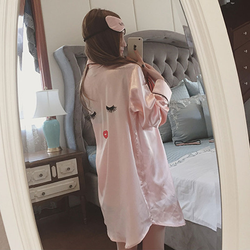Summer silk pajamas long sleeved Shorts Girls Nightgown eyelashes four piece sling leisure clothes Home Furnishing goggles