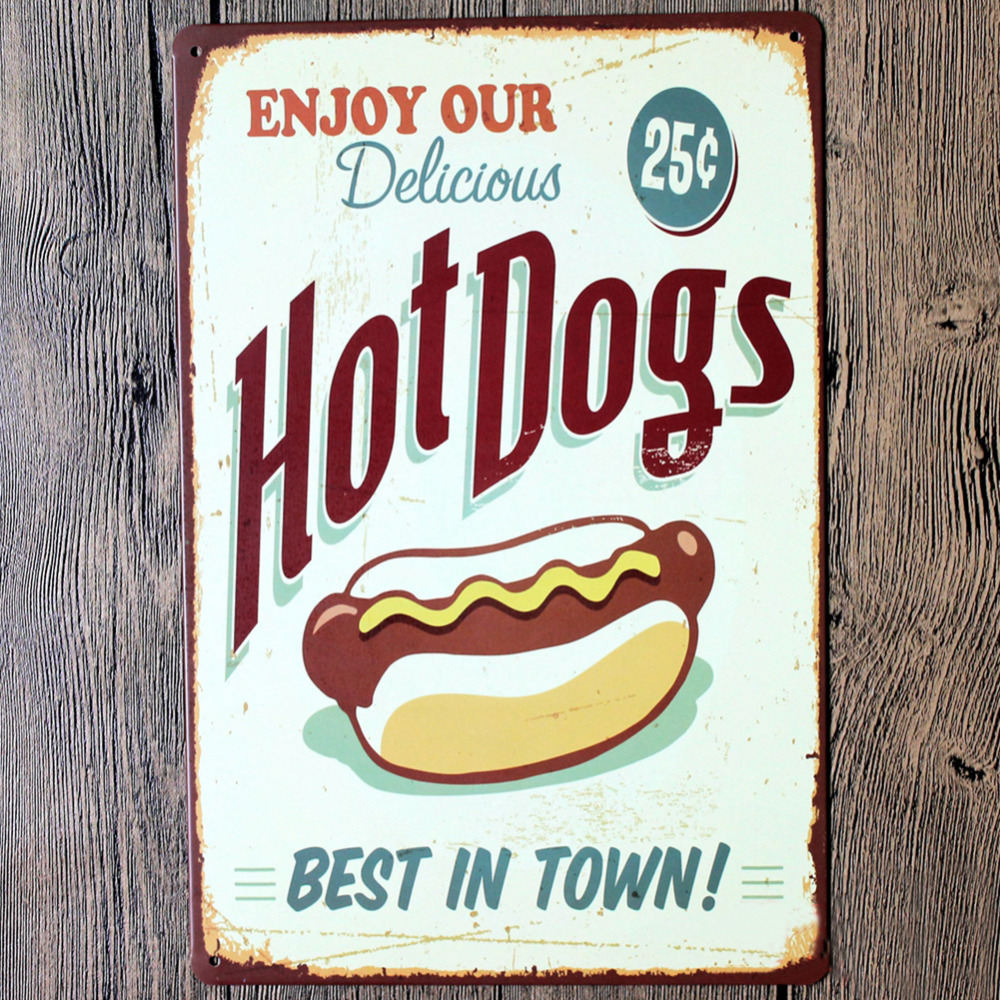 Enjoy our delicious hot dogs best in town wall decalsmetal t