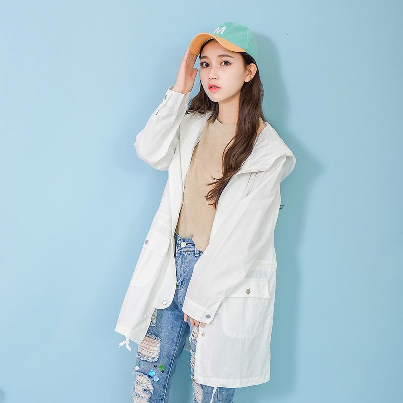 Áo khoác/Áo khoác mỏng/Áo nỉ liền mũ nữ dáng dài thời trang mẫu mới mùa thu kiểu dáng rộng rãi một màu phong cách học sinh