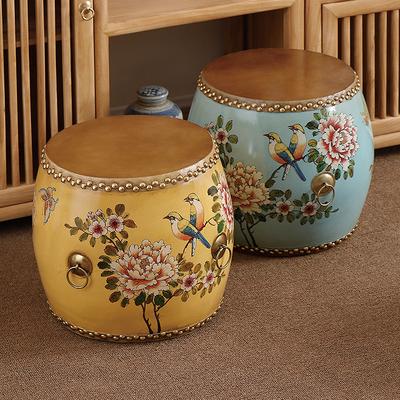 新中式鼓凳彩绘古筝凳实木仿古牛皮鼓古典矮凳矮凳换鞋凳圆凳子
