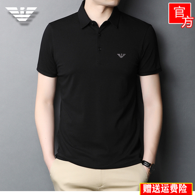 Summer new solid color men's lapel short-sleeved t-shirt pure cotton large size compassionate half-sleeved polo shirt ice mercerized cotton tide