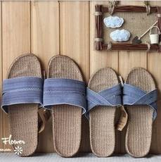 Japanese-style linen fleece slippers female couple indoor jute straw summer sandals and slippers male flat anti-slip home shoes