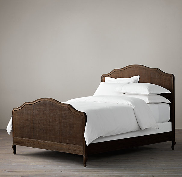 The new French furniture, American RH original full solid wood double bed 1.8 hemp cane soft on residential furniture bed