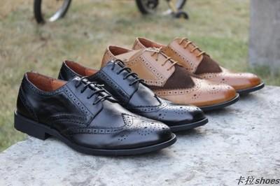 外贸鞋欧美风格男士皮鞋真皮雕花布洛克皮鞋男英伦复古