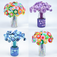 Children's hand DIY nonwoven material package Creative Color button button flower bouquet making buttons flower stickers
