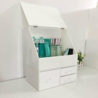 促销欧式白色梯形翻盖防尘亚克力口红护肤品收纳盒抽屉式叠放组合