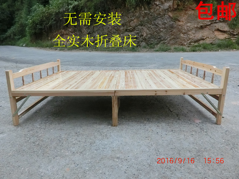 Folding folding bed, Chinese fir simple lunch bed, wooden bed, solid wood folding bed, folding space