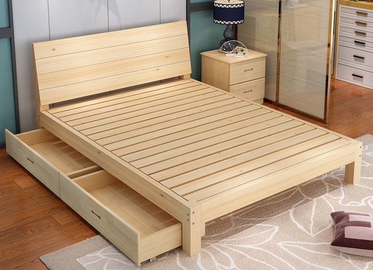 Solid wood bed, 1.8 meters double bed, economical 1.5 meters, modern simple oak bed, storage bed, wedding bed, master bedroom furniture