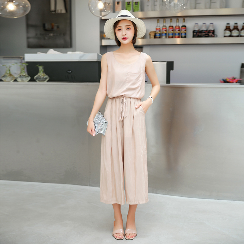 A378 summer leisure Vest + wide leg pants suit cuprammonium leisure loose thin section set of two Ms.