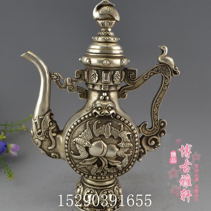 古玩收藏精品黃銅鍍銀白銅福臨門藏銅壺酒壺茶壺水壺裝飾道具擺件
