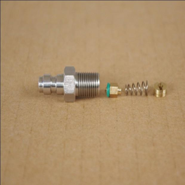 Air tight fast exhaust 8mm head stainless steel high pressure quick connect male inlet one-way valve gas nozzle joint