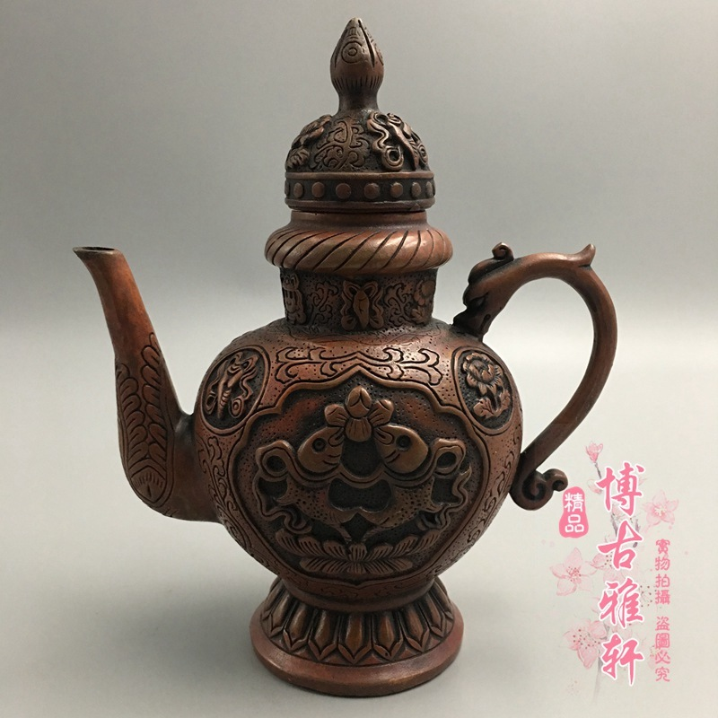 古玩收藏仿古銅器黃銅精品銅壺年年有魚長嘴茶雙魚酒壺工藝品擺件