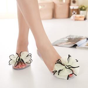 春夏水晶果冻鞋 花朵蝴蝶结 拼色胶鞋女鞋 露趾凉鞋旅游鞋A013