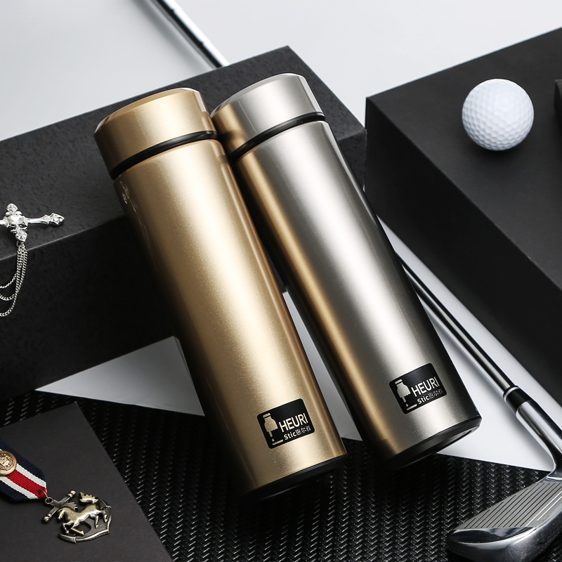 Stainless steel vacuum thermos cup, straight 500ML water bottle, cold storage, large capacity, men and women bubble tea