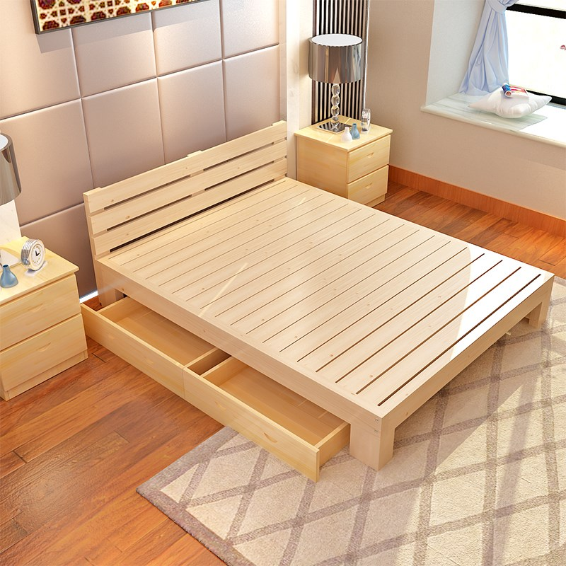 Economy child bed solid wood bed, 1.5 meters simple double bed, adult 1.8 meters big bed 1 meters 2 simple single bed