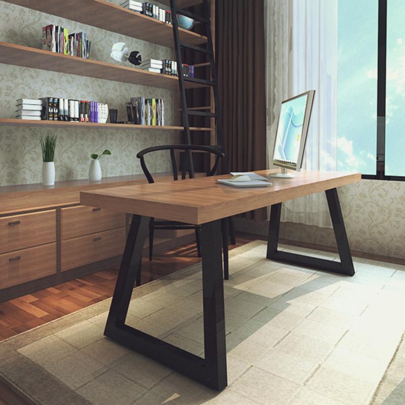 La table de bureau d'un ordinateur de bureau bureau américain de fer de table de négociation des meubles en bois vieux thé