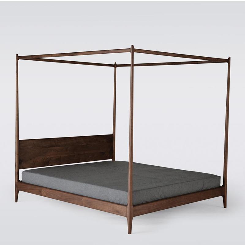 El bastidor de la cama cama doble columna moderna nórdica de 1,8 metros de madera color nogal 2.2 La cama King Size