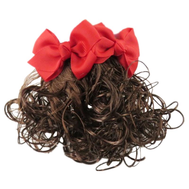 儿童头饰公主额头链女童蝴蝶结假发造型超仙发夹发饰女孩辫子发卡