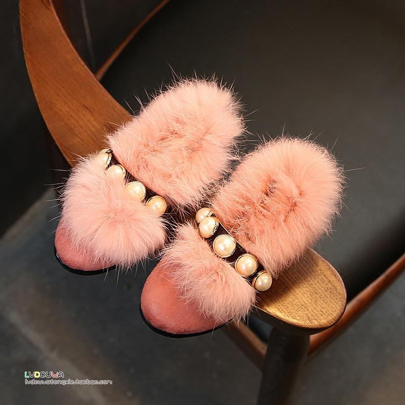 2017冬季新款韩版加绒女童皮鞋公主鞋儿童豆豆鞋宝宝鞋女童鞋棉鞋