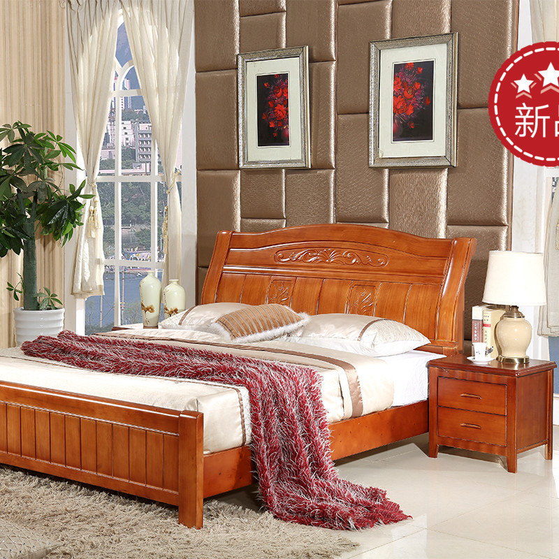 The import of Chinese oak wood bed comfortable durable and environment-friendly modern minimalist double 2016 new shipping