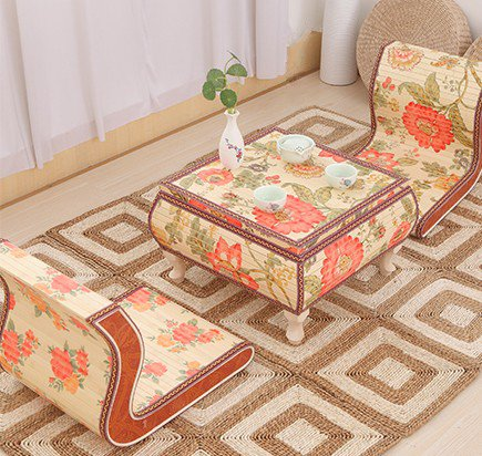 One student integrated straw wood large-sized apartment bed tatami floor low table chairs process