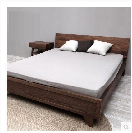 North American walnut double bed, all solid wood oak back bed, Japanese simple marriage bed, 1.5m1.8m master bedroom furniture