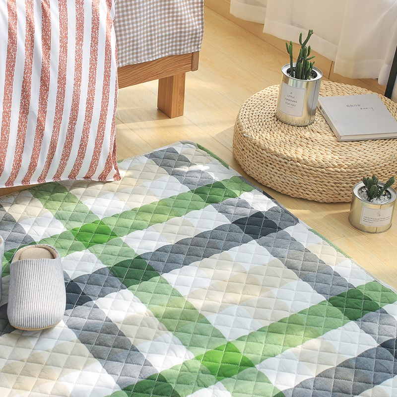 Japanese washed cotton tartan carpet covered the household bedroom mat table mat skidproof tatami bed.